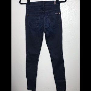 7 for all mankind high waist skinny dark blue jean